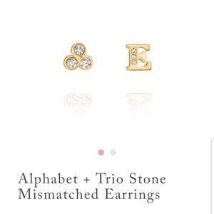 Alphabet + Trio Stone Mismatched Earrings